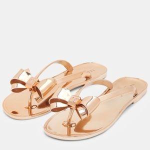 Ted Baker Rafeek Bow Sandals Flip Flops Rose Gold